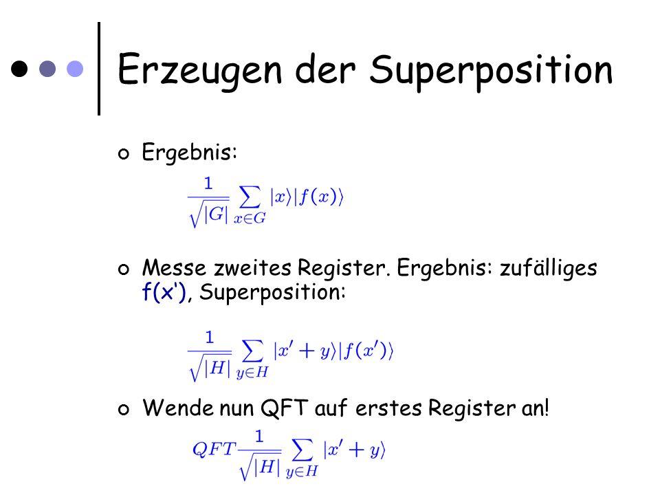 Erzeugen der Superposition Ergebnis: Messe zweites Register.
