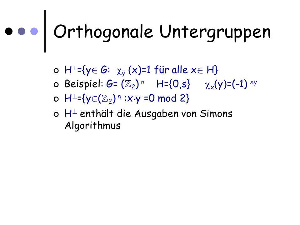 Orthogonale Untergruppen H .