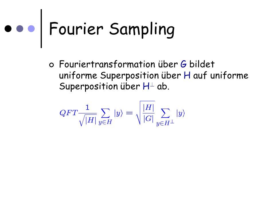 Fourier Sampling Fouriertransformation über G bildet uniforme Superposition über H auf uniforme Superposition über H ? ab.
