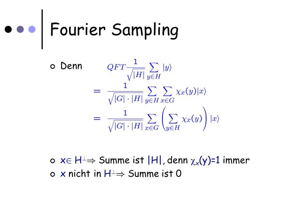 Fourier Sampling Denn x 2 H ) Summe ist |H|, denn x (y)=1 immer x nicht in H ) Summe ist 0