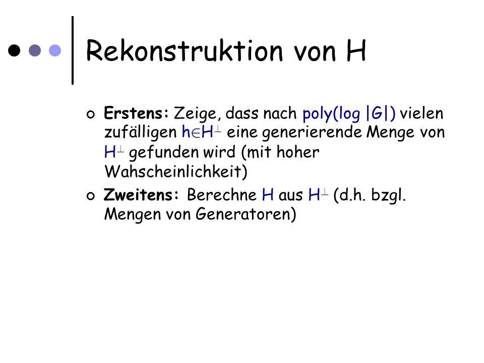 Rekonstruktion von H Erstens: Zeige, dass nach poly(log |G|) vielen zufälligen h 2 H .