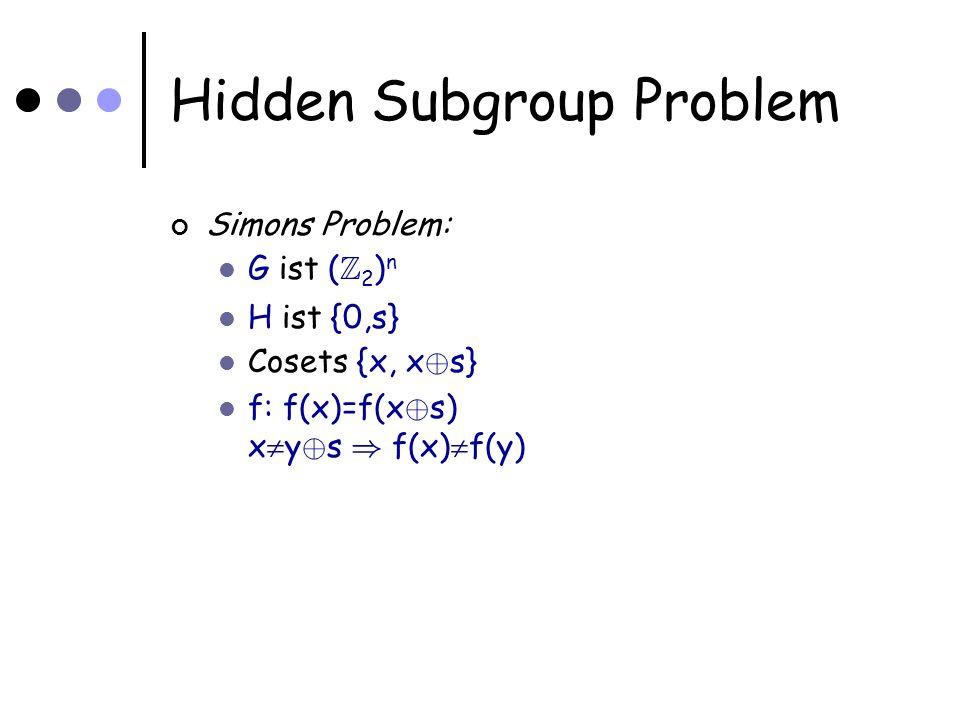 Hidden Subgroup Problem Simons Problem: G ist ( Z 2 ) n H ist {0,s} Cosets {x, x © s} f: f(x)=f(x © s) x y © s ) f(x) f(y)