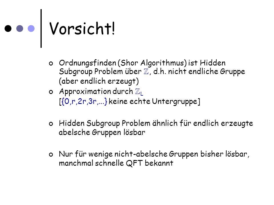 Vorsicht. Ordnungsfinden (Shor Algorithmus) ist Hidden Subgroup Problem über Z, d.h.