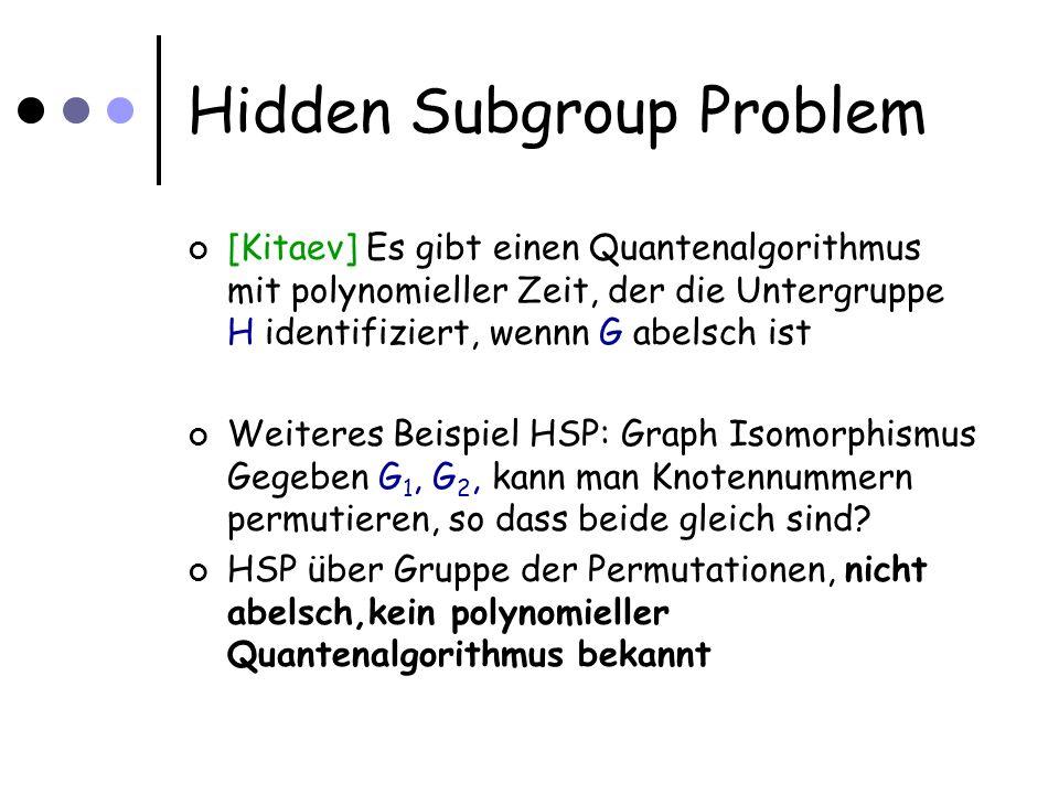 Hidden Subgroup Problem [Kitaev] Es gibt einen Quantenalgorithmus mit polynomieller Zeit, der die Untergruppe H identifiziert, wennn G abelsch ist Weiteres Beispiel HSP: Graph Isomorphismus Gegeben G 1, G 2, kann man Knotennummern permutieren, so dass beide gleich sind.