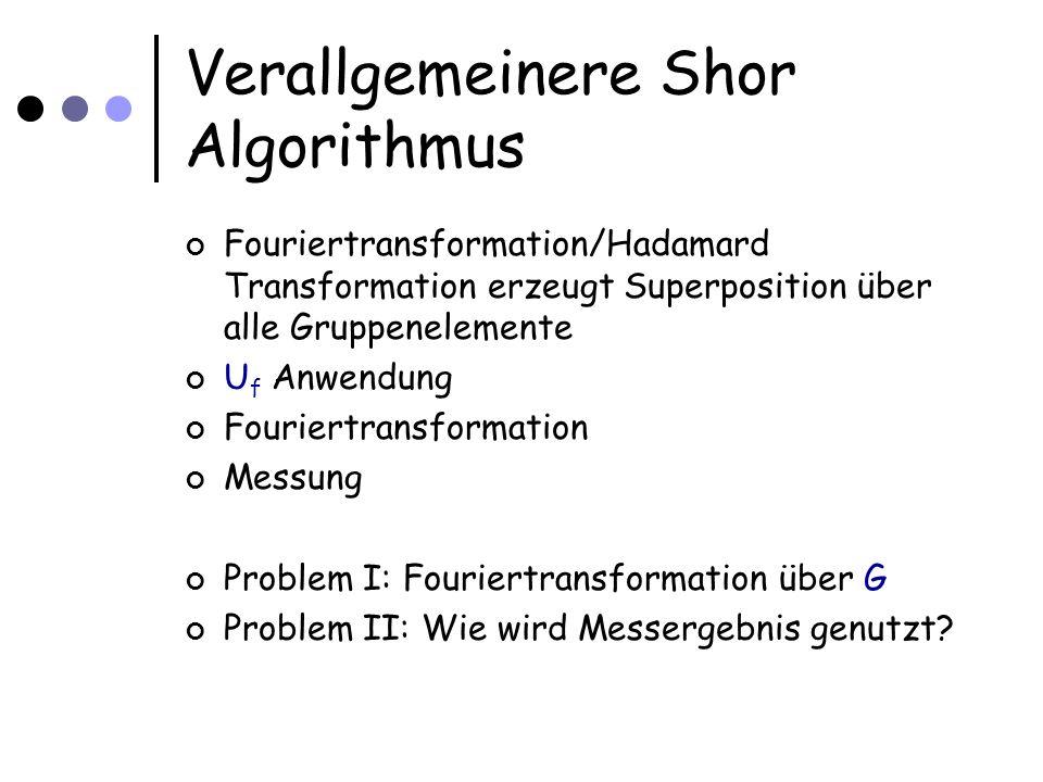 Verallgemeinere Shor Algorithmus Fouriertransformation/Hadamard Transformation erzeugt Superposition über alle Gruppenelemente U f Anwendung Fouriertransformation Messung Problem I: Fouriertransformation über G Problem II: Wie wird Messergebnis genutzt