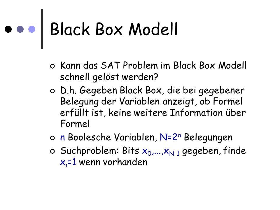 Black Box Modell Kann das SAT Problem im Black Box Modell schnell gelöst werden.