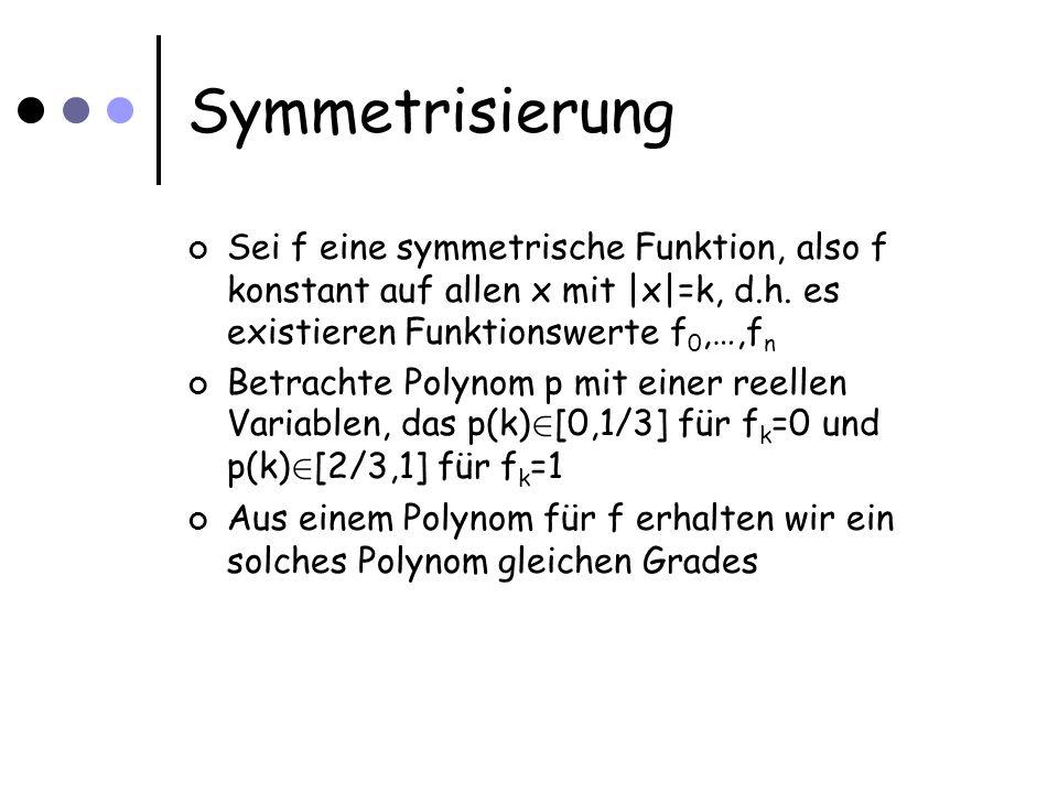 Symmetrisierung Sei f eine symmetrische Funktion, also f konstant auf allen x mit |x|=k, d.h. es existieren Funktionswerte f 0,…,f n Betrachte Polynom