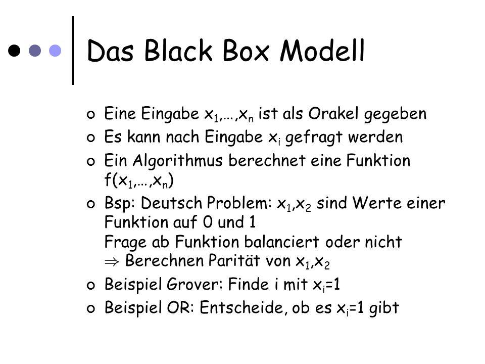 Das Black Box Modell Eine Eingabe x 1,…,x n ist als Orakel gegeben Es kann nach Eingabe x i gefragt werden Ein Algorithmus berechnet eine Funktion f(x 1,…,x n ) Bsp: Deutsch Problem: x 1,x 2 sind Werte einer Funktion auf 0 und 1 Frage ab Funktion balanciert oder nicht ) Berechnen Parität von x 1,x 2 Beispiel Grover: Finde i mit x i =1 Beispiel OR: Entscheide, ob es x i =1 gibt