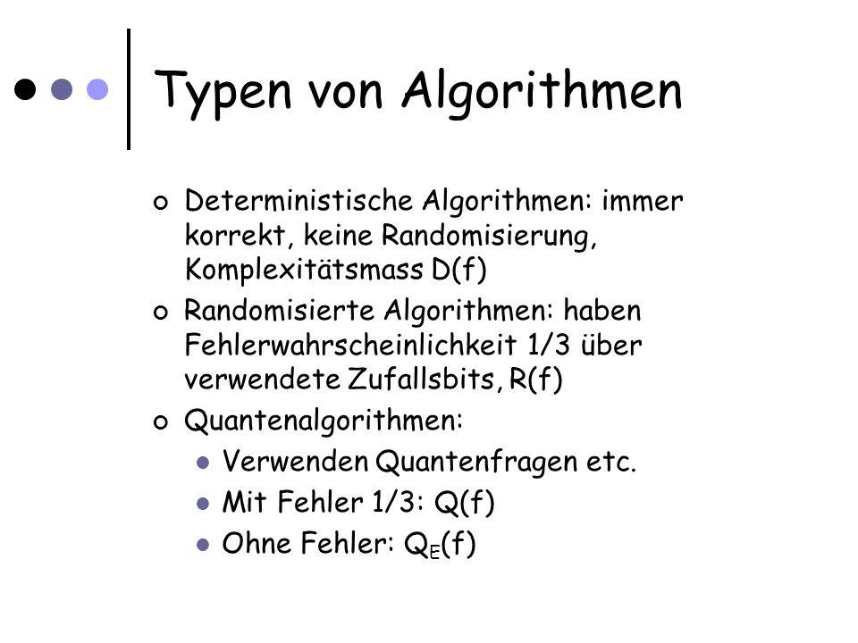 Typen von Algorithmen Deterministische Algorithmen: immer korrekt, keine Randomisierung, Komplexitätsmass D(f) Randomisierte Algorithmen: haben Fehlerwahrscheinlichkeit 1/3 über verwendete Zufallsbits, R(f) Quantenalgorithmen: Verwenden Quantenfragen etc.