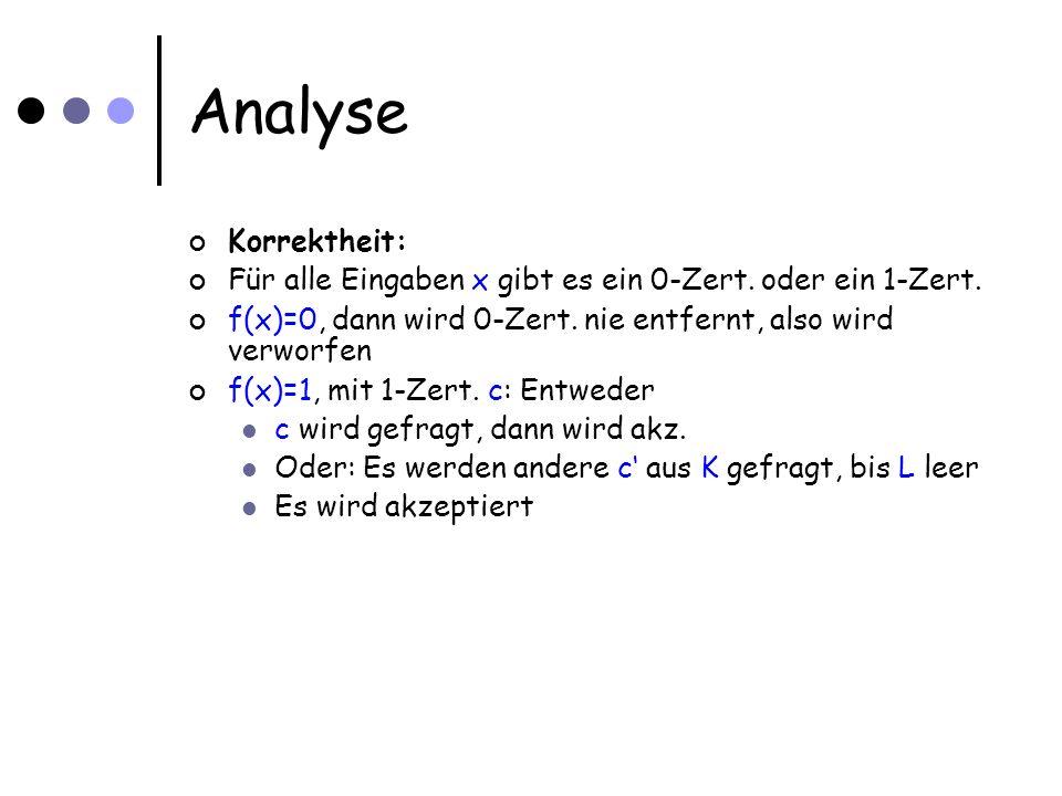Analyse Korrektheit: Für alle Eingaben x gibt es ein 0-Zert.