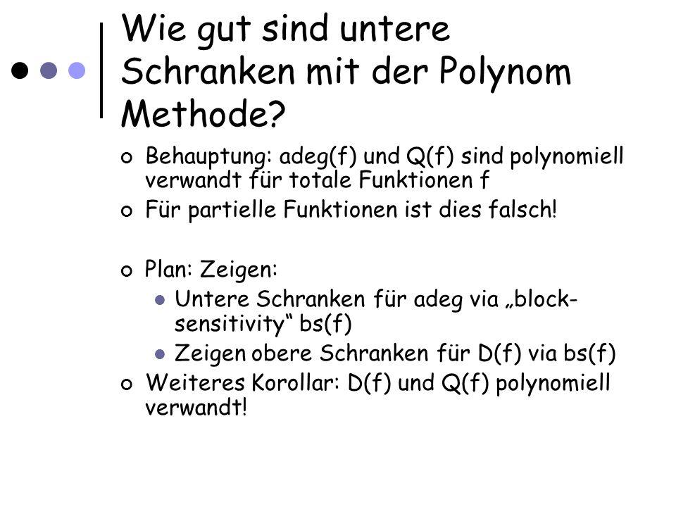 Wie gut sind untere Schranken mit der Polynom Methode.