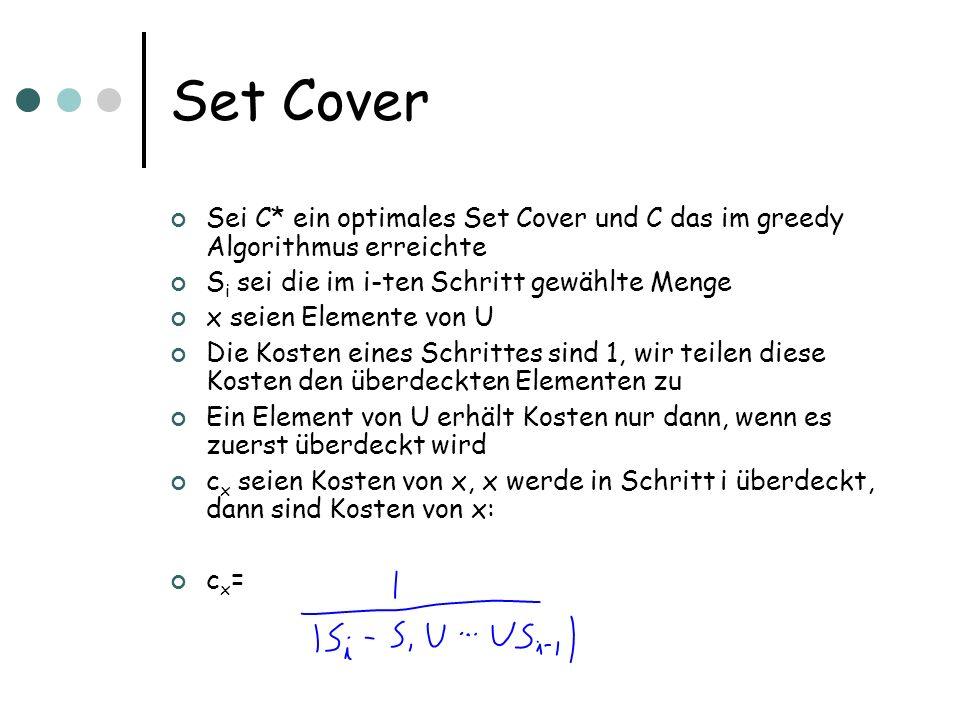 Set Cover Sei C* ein optimales Set Cover und C das im greedy Algorithmus erreichte S i sei die im i-ten Schritt gewählte Menge x seien Elemente von U Die Kosten eines Schrittes sind 1, wir teilen diese Kosten den überdeckten Elementen zu Ein Element von U erhält Kosten nur dann, wenn es zuerst überdeckt wird c x seien Kosten von x, x werde in Schritt i überdeckt, dann sind Kosten von x: c x =