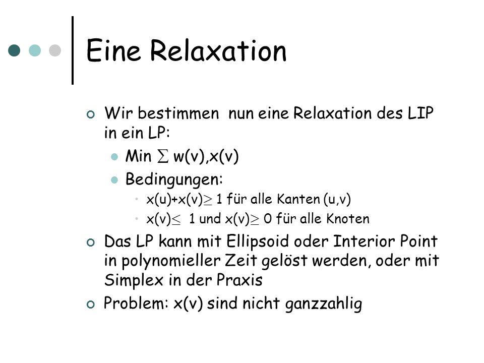 Eine Relaxation Wir bestimmen nun eine Relaxation des LIP in ein LP: Min w(v),x(v) Bedingungen: x(u)+x(v) ¸ 1 für alle Kanten (u,v) x(v) · 1 und x(v) ¸ 0 für alle Knoten Das LP kann mit Ellipsoid oder Interior Point in polynomieller Zeit gelöst werden, oder mit Simplex in der Praxis Problem: x(v) sind nicht ganzzahlig