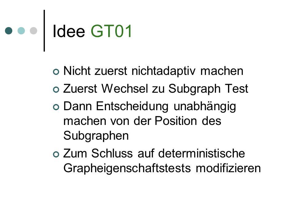 Idee GT01 Nicht zuerst nichtadaptiv machen Zuerst Wechsel zu Subgraph Test Dann Entscheidung unabhängig machen von der Position des Subgraphen Zum Schluss auf deterministische Grapheigenschaftstests modifizieren
