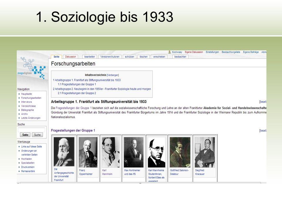 1. Soziologie bis 1933