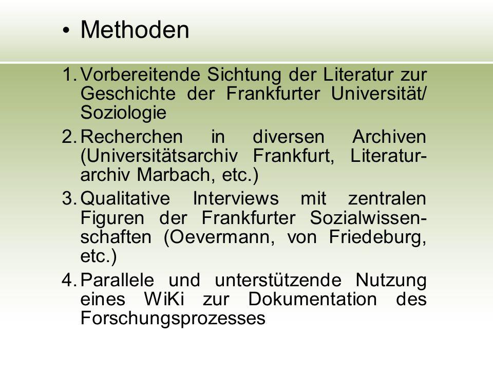 Methoden 1. Vorbereitende Sichtung der Literatur zur Geschichte der Frankfurter Universität/ Soziologie 2. Recherchen in diversen Archiven (Universitä