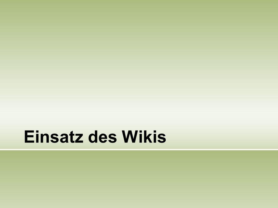 Einsatz des Wikis