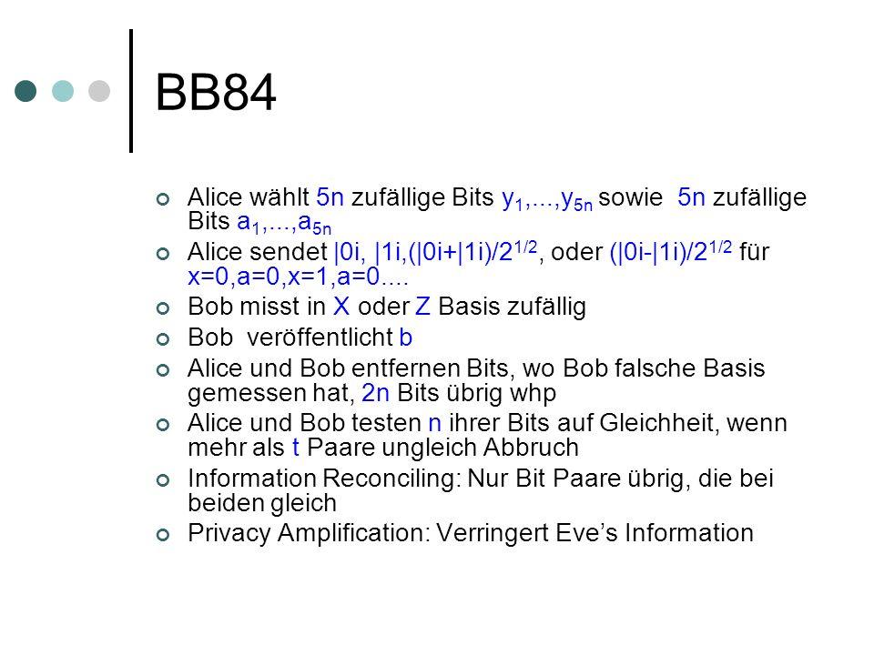 BB84 Alice wählt 5n zufällige Bits y 1,...,y 5n sowie 5n zufällige Bits a 1,...,a 5n Alice sendet |0i, |1i,(|0i+|1i)/2 1/2, oder (|0i-|1i)/2 1/2 für x=0,a=0,x=1,a=0....