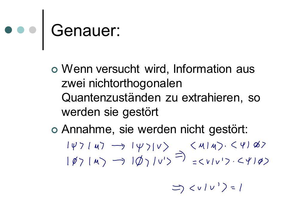 Genauer: Wenn versucht wird, Information aus zwei nichtorthogonalen Quantenzuständen zu extrahieren, so werden sie gestört Annahme, sie werden nicht g
