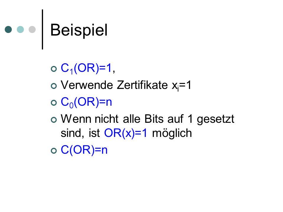 Beispiel C 1 (OR)=1, Verwende Zertifikate x i =1 C 0 (OR)=n Wenn nicht alle Bits auf 1 gesetzt sind, ist OR(x)=1 möglich C(OR)=n