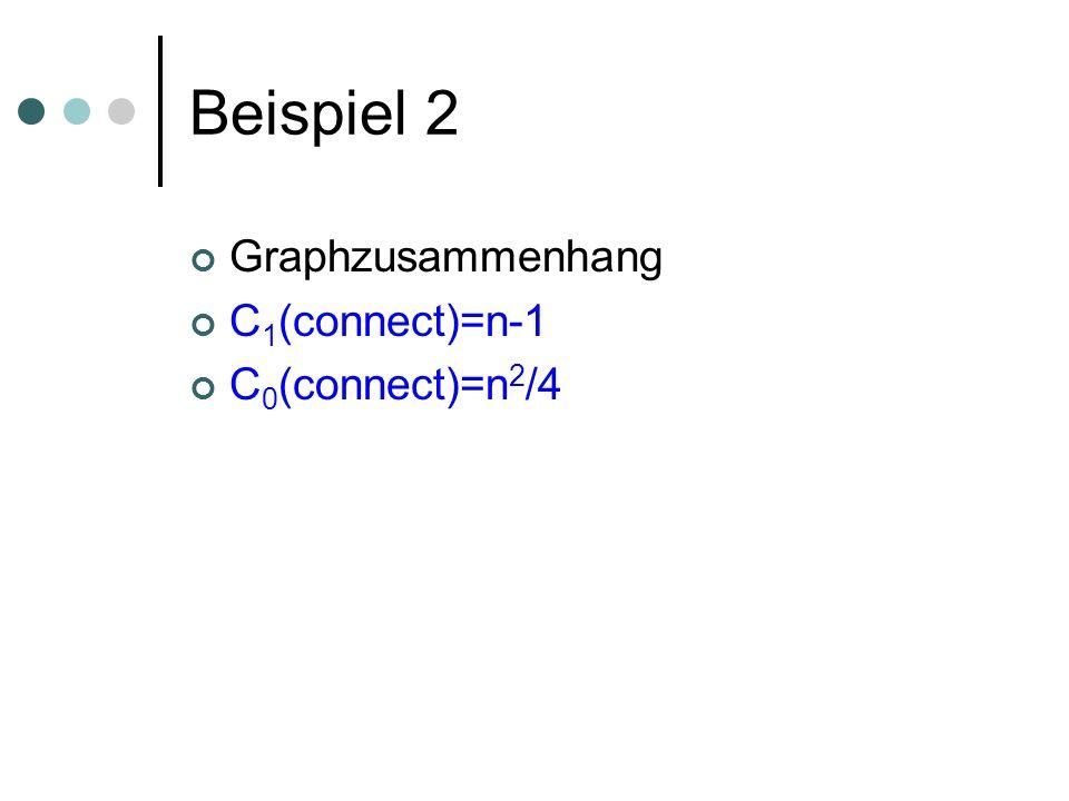 Beispiel 2 Graphzusammenhang C 1 (connect)=n-1 C 0 (connect)=n 2 /4
