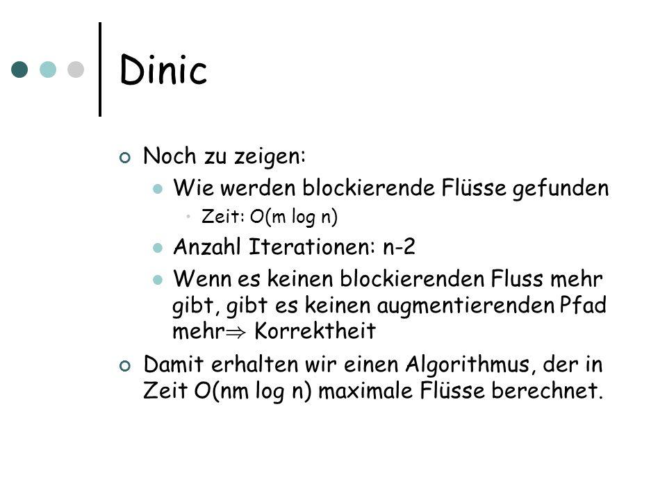 Dinic Noch zu zeigen: Wie werden blockierende Flüsse gefunden Zeit: O(m log n) Anzahl Iterationen: n-2 Wenn es keinen blockierenden Fluss mehr gibt, gibt es keinen augmentierenden Pfad mehr ) Korrektheit Damit erhalten wir einen Algorithmus, der in Zeit O(nm log n) maximale Flüsse berechnet.