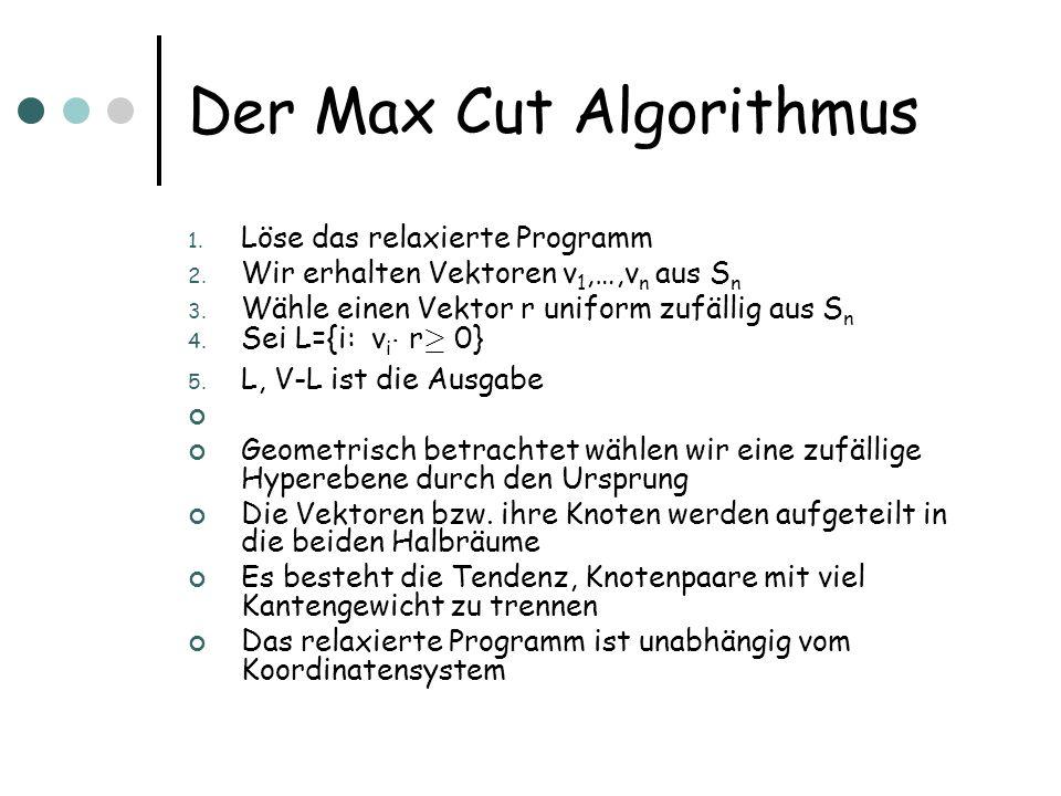 Der Max Cut Algorithmus 1. Löse das relaxierte Programm 2.