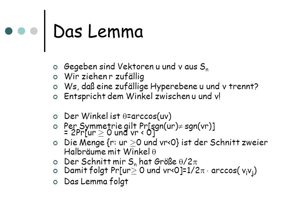 Das Lemma Gegeben sind Vektoren u und v aus S n Wir ziehen r zufällig Ws, daß eine zufällige Hyperebene u und v trennt.