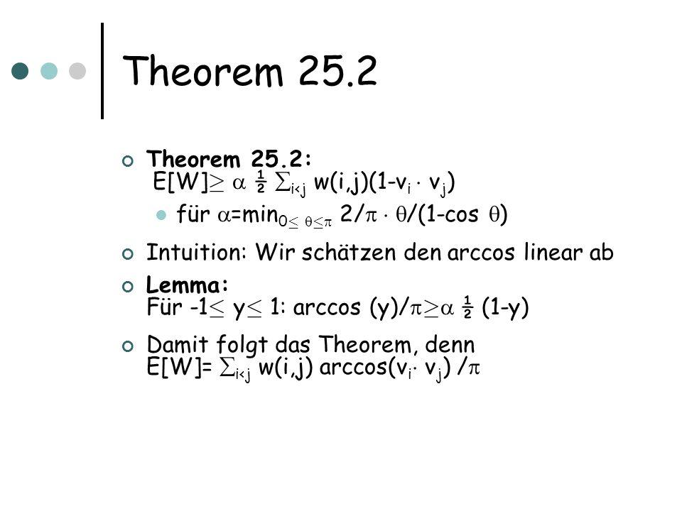 Theorem 25.2 Theorem 25.2: E[W] ¸ ½ i<j w(i,j)(1-v i ¢ v j ) für =min 0 · · 2/ ¢ /(1-cos ) Intuition: Wir schätzen den arccos linear ab Lemma: Für -1 · y · 1: arccos (y)/ ¸ ½ (1-y) Damit folgt das Theorem, denn E[W]= i<j w(i,j) arccos(v i ¢ v j ) /