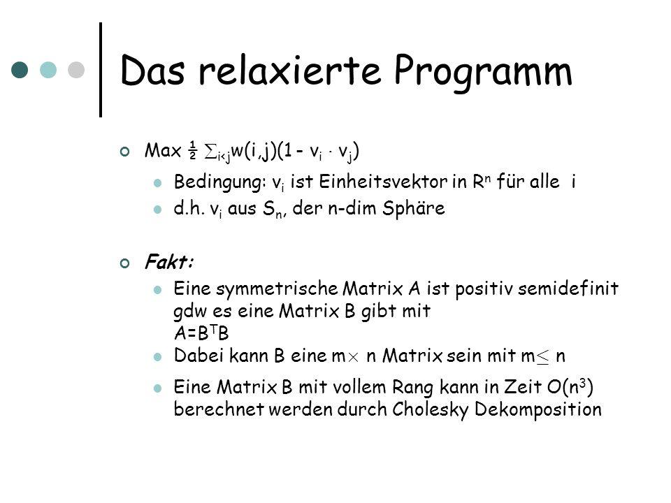 Das relaxierte Programm Max ½ i<j w(i,j)(1 - v i ¢ v j ) Bedingung: v i ist Einheitsvektor in R n für alle i d.h.