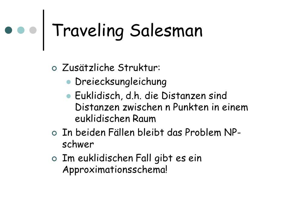 Traveling Salesman Zusätzliche Struktur: Dreiecksungleichung Euklidisch, d.h.