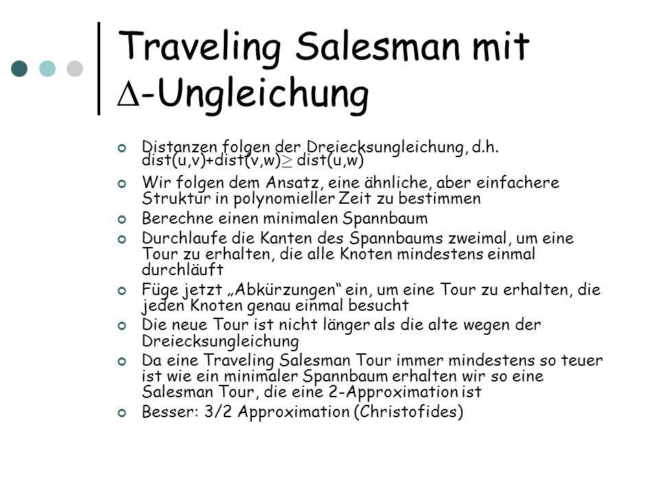 Traveling Salesman mit -Ungleichung Distanzen folgen der Dreiecksungleichung, d.h.