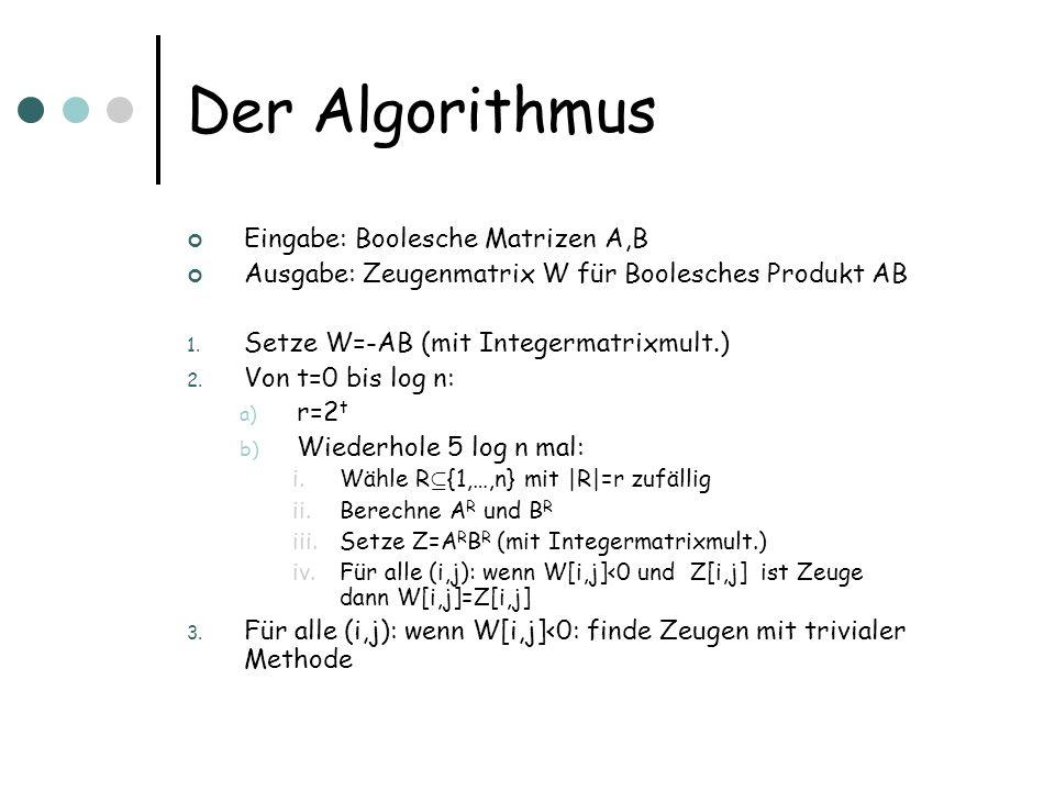 Der Algorithmus Eingabe: Boolesche Matrizen A,B Ausgabe: Zeugenmatrix W für Boolesches Produkt AB 1. Setze W=-AB (mit Integermatrixmult.) 2. Von t=0 b