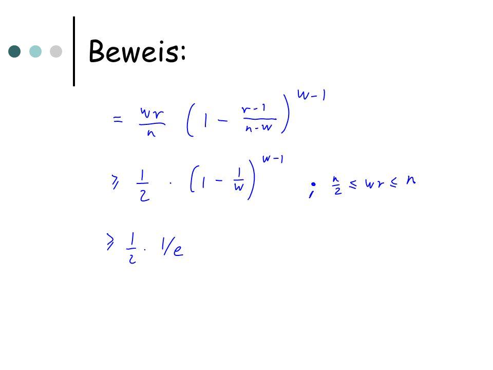 Anwendung Wenn die Menge R genau einen Zeugen enthält, kann dieser leicht gefunden werden: Sei R dargestellt durch einen Inzidenzvektor: R[k]=1 gdw k 2 R Setze A R [i,k]=kR[k]A[i,k] Setze B R [k,j]=R[k]B [ k,j] Dann ist für alle i,j mit eindeutigem Zeugen A R B R [i,j]=k für den Zeugen k Insgesamt erhalten wir mit A R B R Zeugen für einen Bruchteil von 1/(2e) aller Einträge für die r korrekt gewählt ist, d.h.