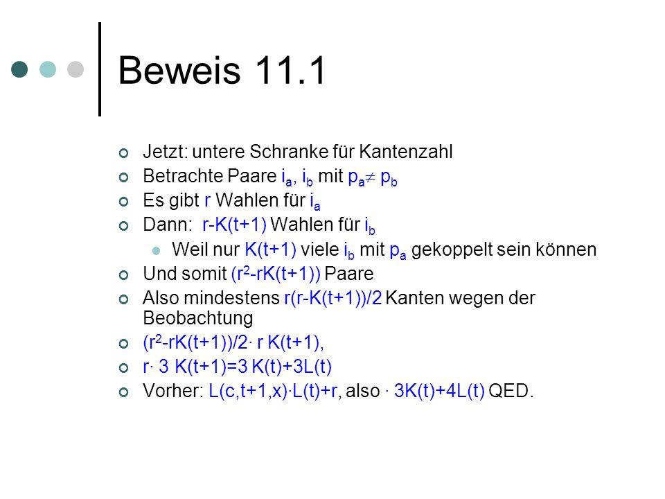 Beweis 11.1 Jetzt: untere Schranke für Kantenzahl Betrachte Paare i a, i b mit p a p b Es gibt r Wahlen für i a Dann: r-K(t+1) Wahlen für i b Weil nur K(t+1) viele i b mit p a gekoppelt sein können Und somit (r 2 -rK(t+1)) Paare Also mindestens r(r-K(t+1))/2 Kanten wegen der Beobachtung (r 2 -rK(t+1))/2· r K(t+1), r· 3 K(t+1)=3 K(t)+3L(t) Vorher: L(c,t+1,x)·L(t)+r, also · 3K(t)+4L(t) QED.
