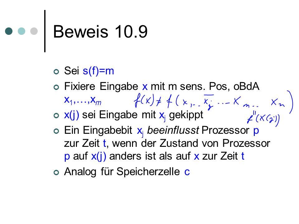 Beweis 10.9 Sei s(f)=m Fixiere Eingabe x mit m sens. Pos, oBdA x 1,…,x m x(j) sei Eingabe mit x j gekippt Ein Eingabebit x j beeinflusst Prozessor p z