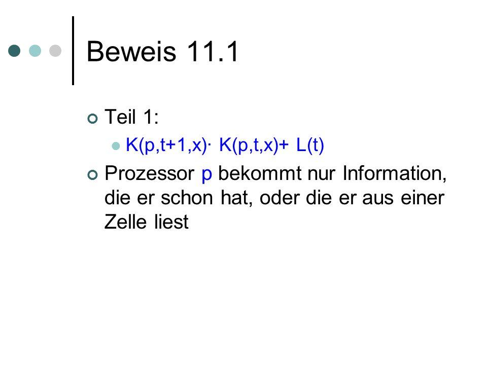Beweis 11.1 Teil 1: K(p,t+1,x)· K(p,t,x)+ L(t) Prozessor p bekommt nur Information, die er schon hat, oder die er aus einer Zelle liest