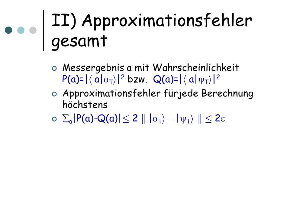 II) Approximationsfehler gesamt Messergebnis a mit Wahrscheinlichkeit P(a)=| h a| T i | 2 bzw. Q(a)=| h a| T i | 2 Approximationsfehler fürjede Berech