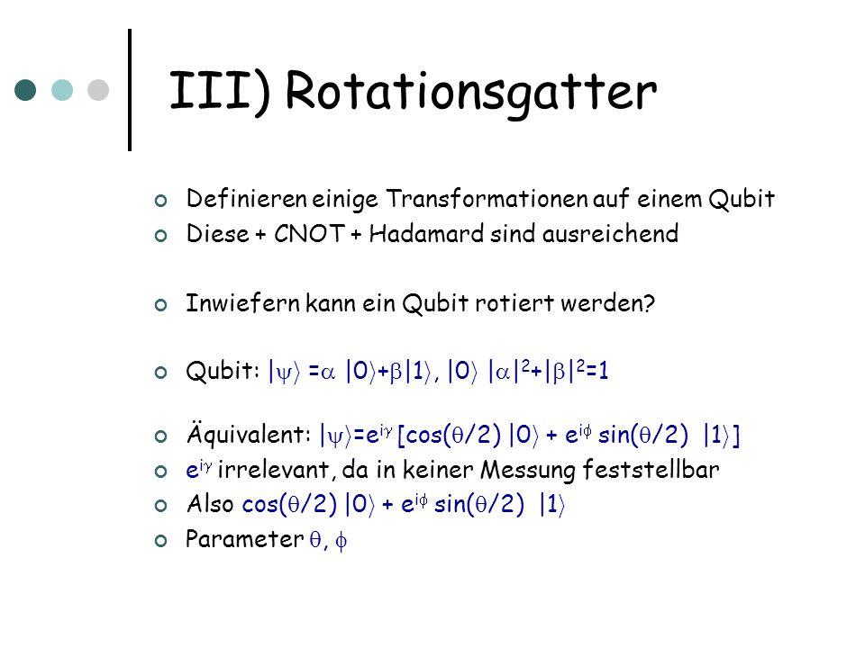 III) Rotationsgatter Definieren einige Transformationen auf einem Qubit Diese + CNOT + Hadamard sind ausreichend Inwiefern kann ein Qubit rotiert werd