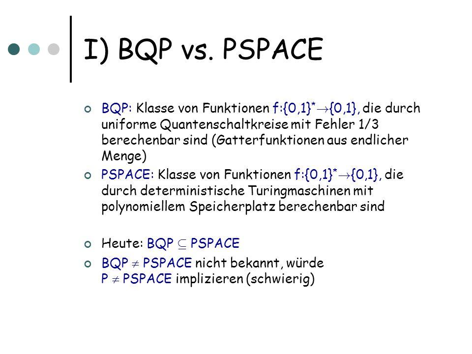 I) Simulation in PSPACE Gegeben ist uniforme Quantenschaltkreisfamilie (d.h.