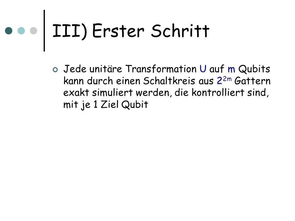III) Erster Schritt Jede unitäre Transformation U auf m Qubits kann durch einen Schaltkreis aus 2 2m Gattern exakt simuliert werden, die kontrolliert