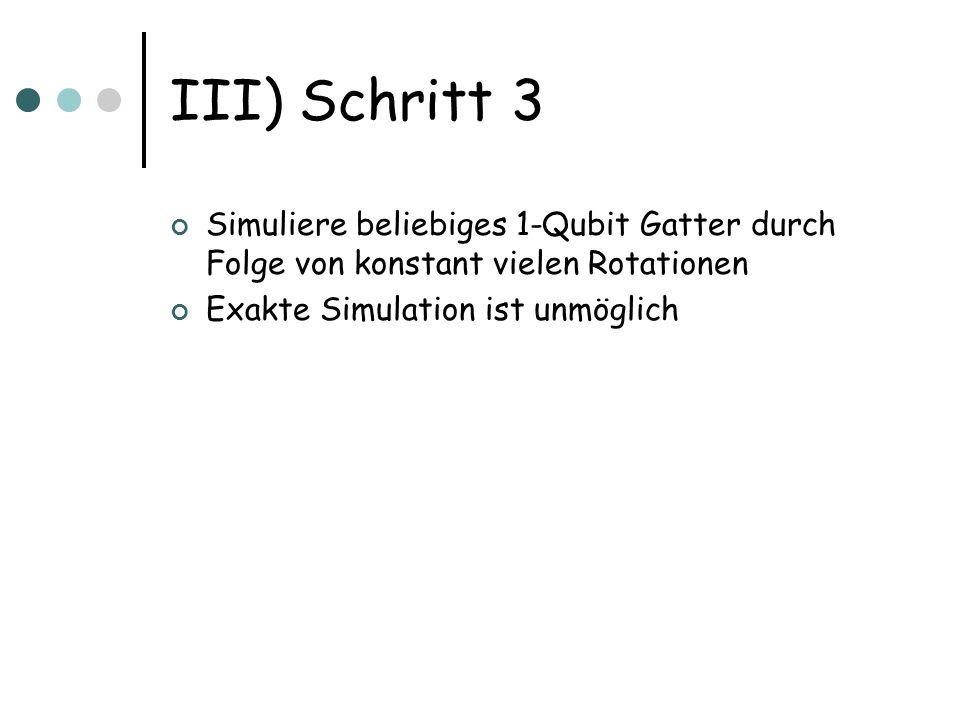 III) Schritt 3 Simuliere beliebiges 1-Qubit Gatter durch Folge von konstant vielen Rotationen Exakte Simulation ist unmöglich