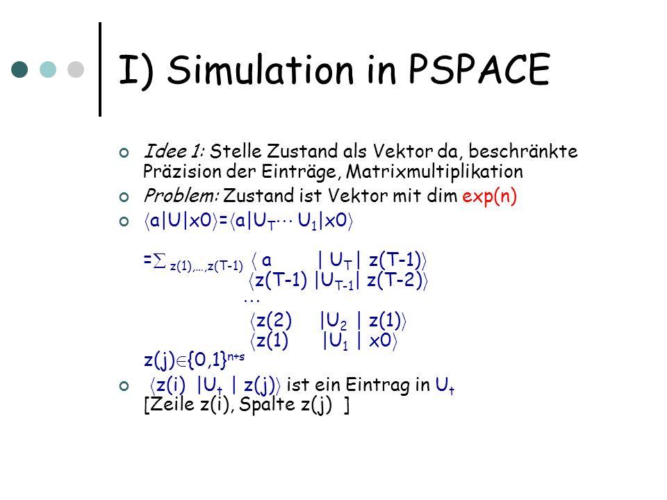 I) Simulation in PSPACE Idee 1: Stelle Zustand als Vektor da, beschränkte Präzision der Einträge, Matrixmultiplikation Problem: Zustand ist Vektor mit