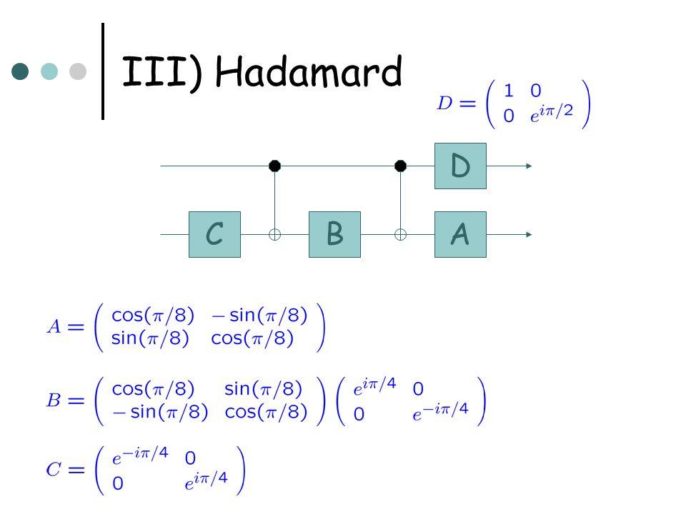 III) Hadamard CBA D