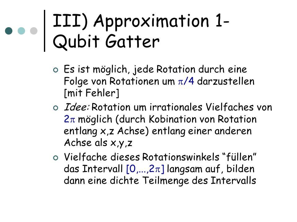 III) Approximation 1- Qubit Gatter Es ist möglich, jede Rotation durch eine Folge von Rotationen um /4 darzustellen [mit Fehler] Idee: Rotation um irr