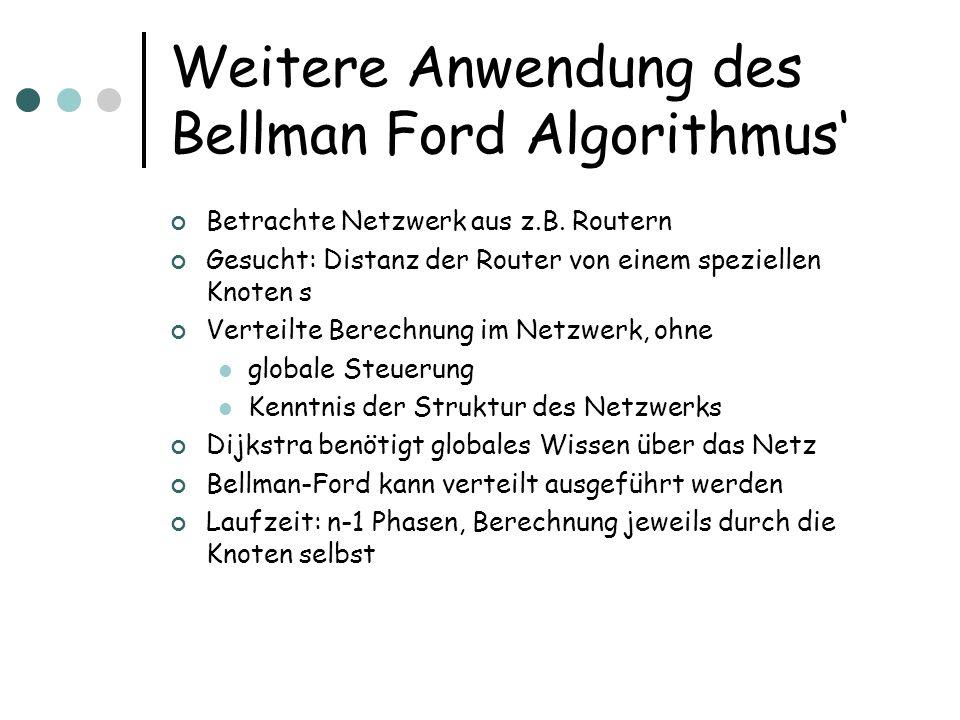 Weitere Anwendung des Bellman Ford Algorithmus Betrachte Netzwerk aus z.B. Routern Gesucht: Distanz der Router von einem speziellen Knoten s Verteilte