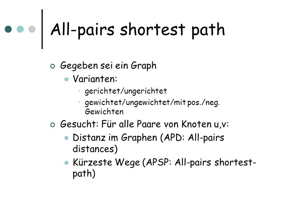 All-pairs shortest path Gegeben sei ein Graph Varianten: gerichtet/ungerichtet gewichtet/ungewichtet/mit pos./neg. Gewichten Gesucht: Für alle Paare v