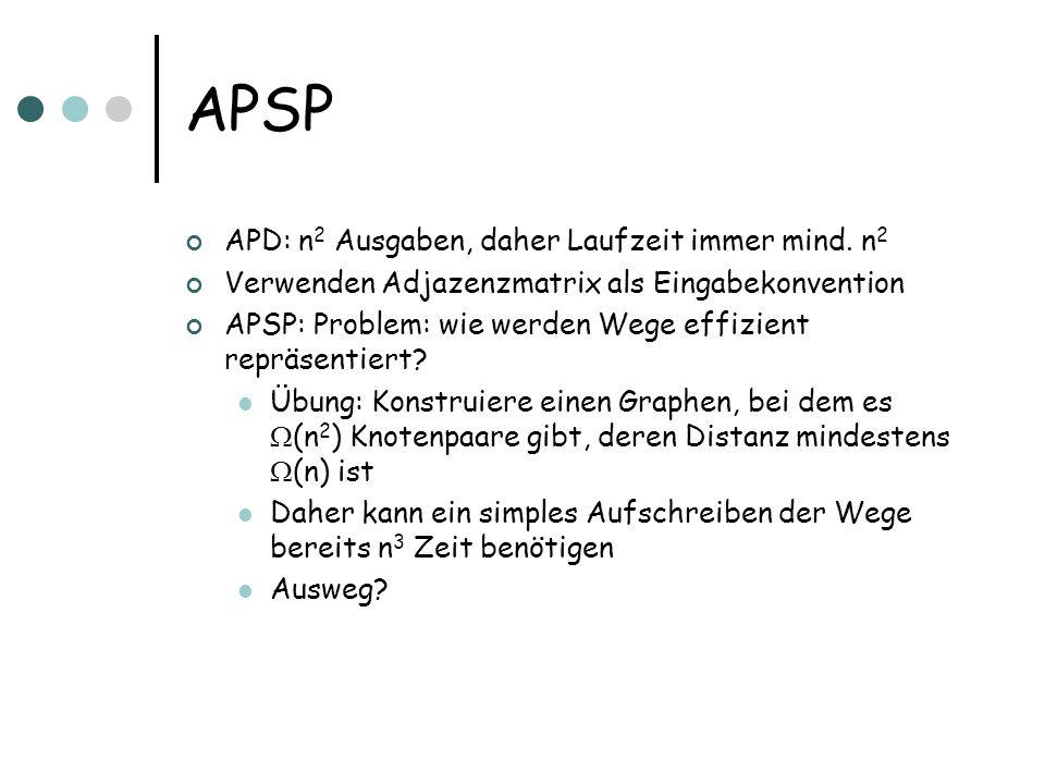 APSP APD: n 2 Ausgaben, daher Laufzeit immer mind. n 2 Verwenden Adjazenzmatrix als Eingabekonvention APSP: Problem: wie werden Wege effizient repräse