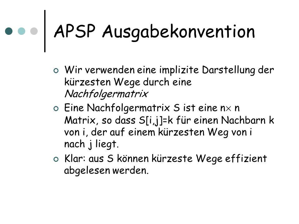 APSP Ausgabekonvention Wir verwenden eine implizite Darstellung der kürzesten Wege durch eine Nachfolgermatrix Eine Nachfolgermatrix S ist eine n £ n