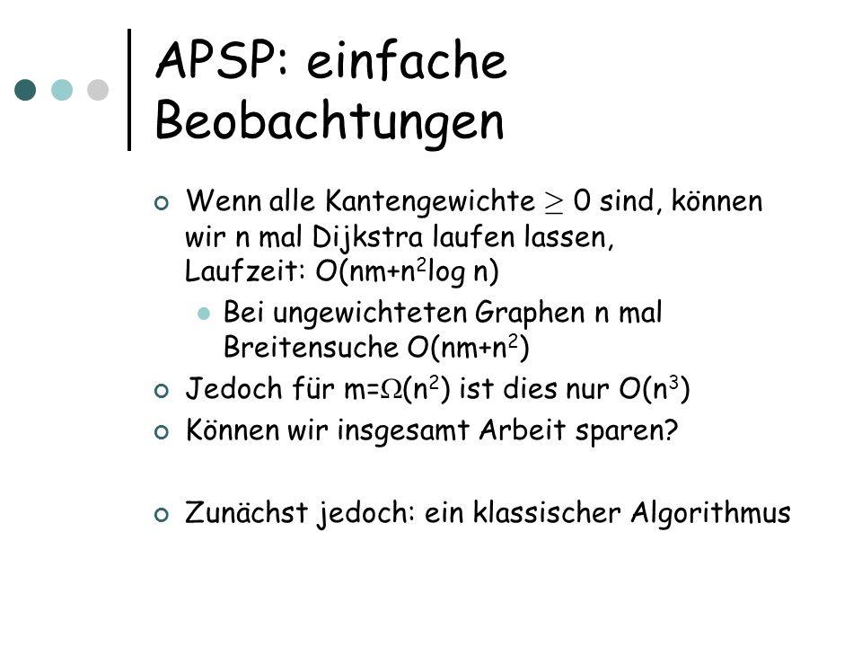 APSP: einfache Beobachtungen Wenn alle Kantengewichte ¸ 0 sind, können wir n mal Dijkstra laufen lassen, Laufzeit: O(nm+n 2 log n) Bei ungewichteten G